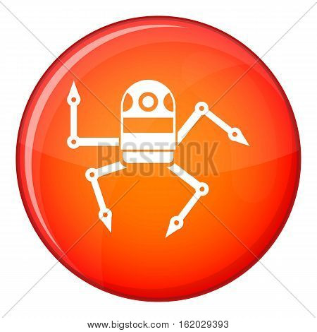 Spider robot icon in red circle isolated on white background vector illustration