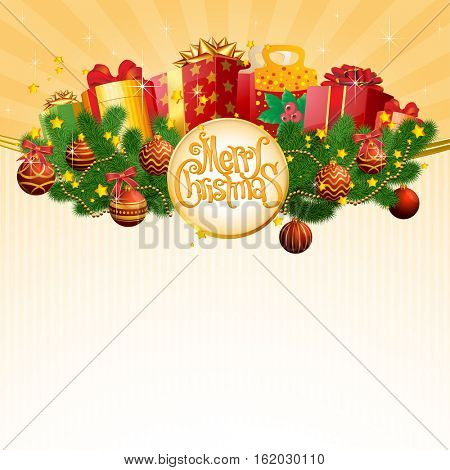 Christmas and New Year retro vintage calligraphic greeting card  vector template
