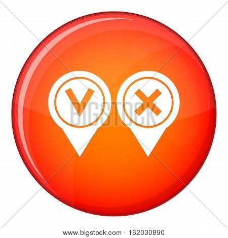 Tick affirmative and negative icon in red circle isolated on white background vector illustration