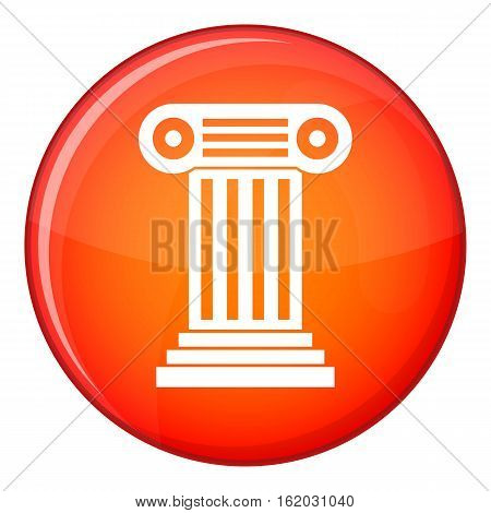Roman column icon in red circle isolated on white background vector illustration