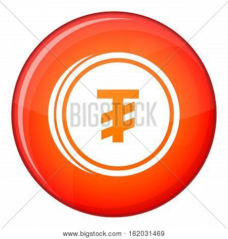 Tugrik coin icon in red circle isolated on white background vector illustration