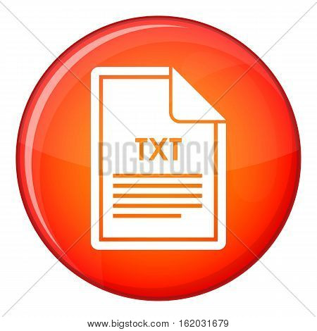 File TXT icon in red circle isolated on white background vector illustration