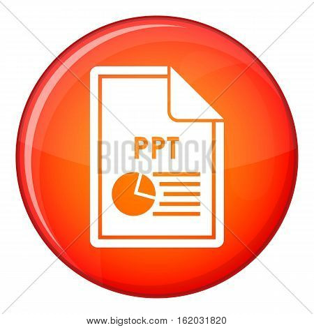File PPT icon in red circle isolated on white background vector illustration