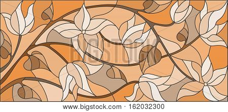 Illustration in stained glass style with flowers monochrome Sepia horizontal orientation