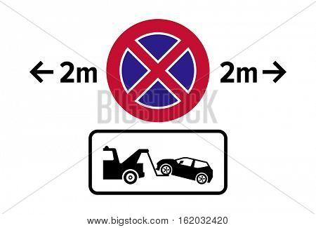 Warning tow away zone sign / icon