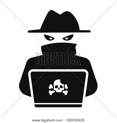 Computer hacker. Dangerous anonymous person icon. Black.