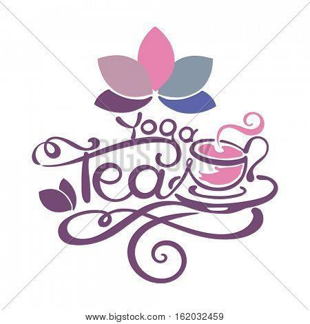 Lettering - Yoga Tea - good for label, logo, menu decoration.