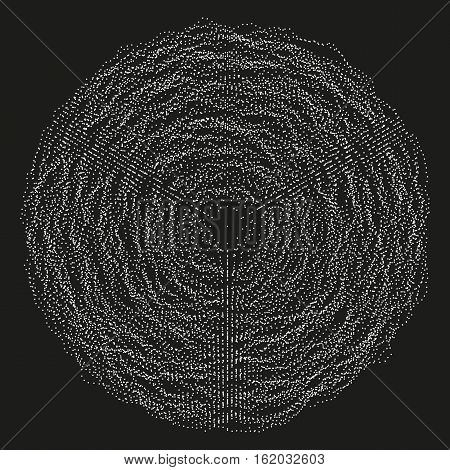 Abstract monochrome vector background illustration made of shuffled particles. Round random decorative composition. Swarm of dots. Modern element of design.