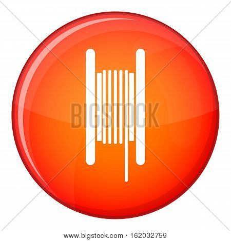 Electric cable in coil icon in red circle isolated on white background vector illustration