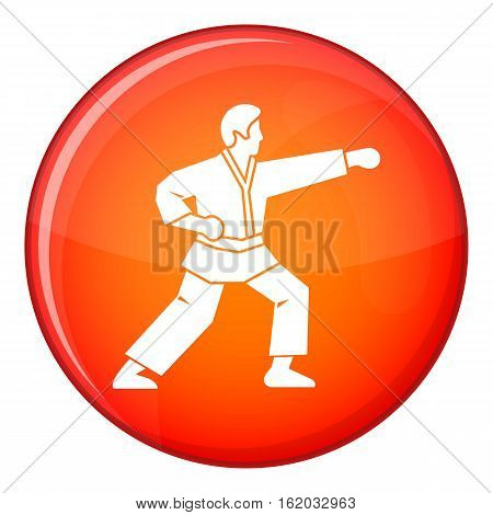 Aikido fighter icon in red circle isolated on white background vector illustration