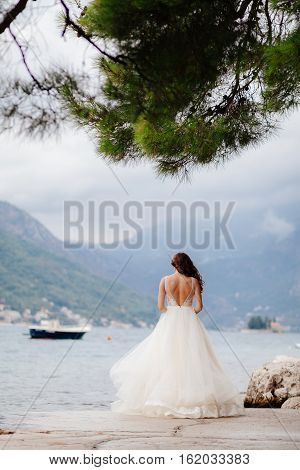 Unidentified Bride Walking In Picturesque Bay