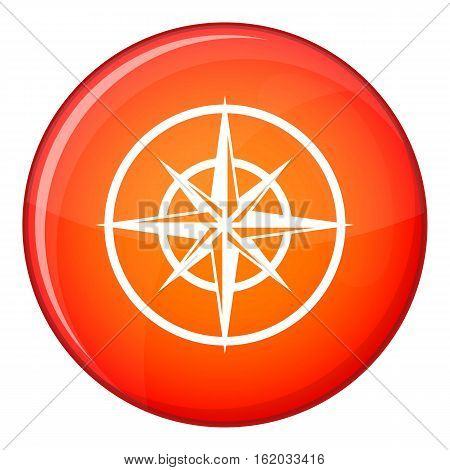 Sign of compass to determine cardinal directions icon in red circle isolated on white background vector illustration