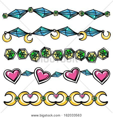 Hand drawn abstract borders with moon hearts and diamonds. Vector illustration