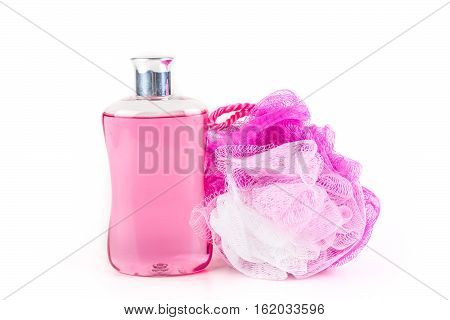 Body Wash And Loofah Isolated On White Background