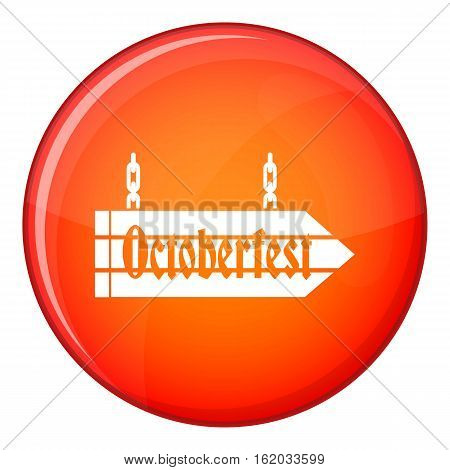 Sign octoberfest icon in red circle isolated on white background vector illustration
