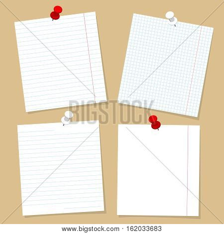 Notebook pages template set. Vector paper for notes and buttons design