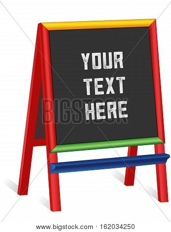 Chalkboard easel, tall multi color wood frame blackboard sign, copy space to customize with your text for business or school.