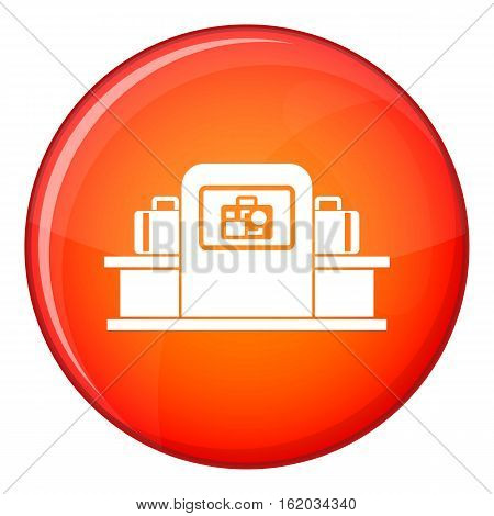 Airport baggage security scanner icon in red circle isolated on white background vector illustration