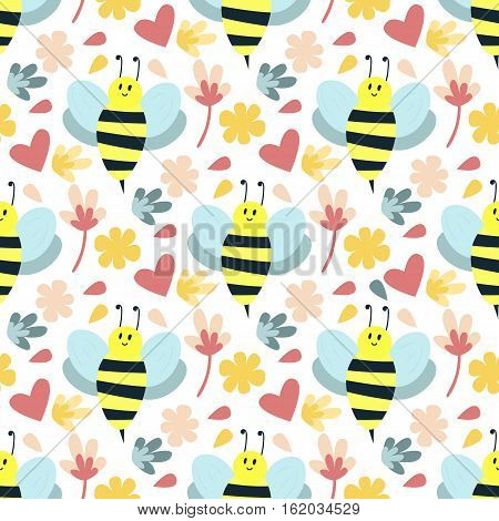 Bee seamless pattern. Honey flying insect animal texture nature decoration. Decorative textile bug fabric funny backdrop. Style flower and wild buzz colorful background.