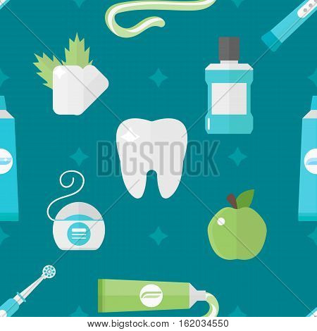 Seamless pattern with medical supplies. Vector tooth health background illustration. Dentistry cartoon symbols. Healthy clean stomatology wallpaper.