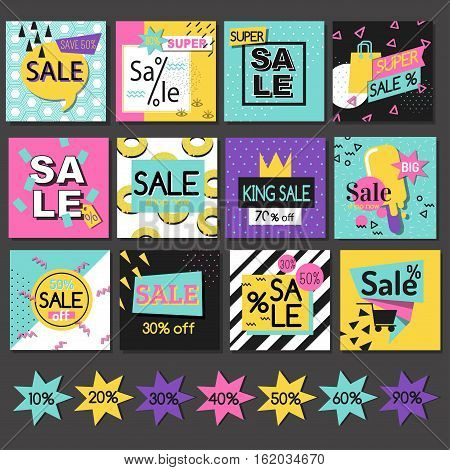 Set of sale banners design. Vector illustration paper business poster. Advertising badge discount sticker offer. Promotion price sign shopping background.