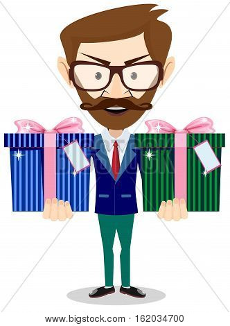 Handsome businessman in formal suit holding a big gift box. Stock vector illustration