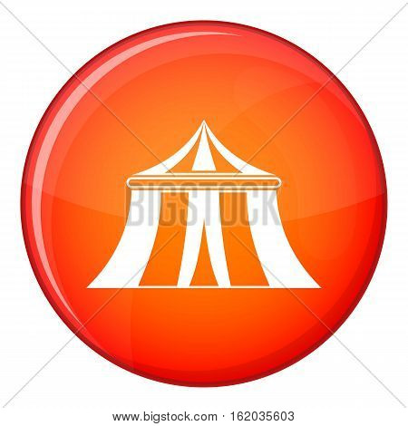 Circus tent icon in red circle isolated on white background vector illustration