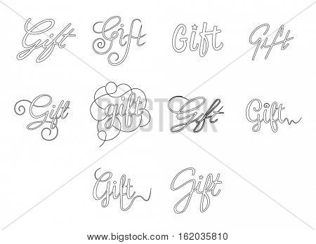Vector icon set of word gift on white background