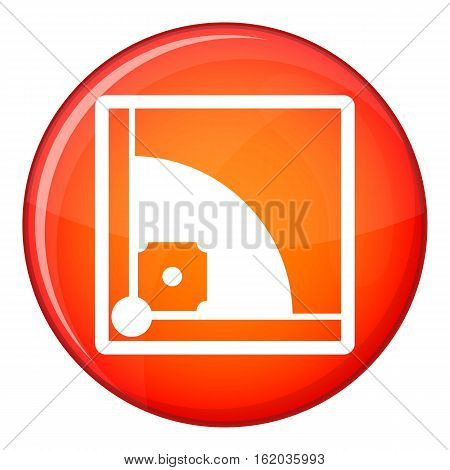 Baseball field icon in red circle isolated on white background vector illustration