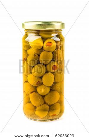 Green Olives Stuffed With Pimiento Isolated On White Background