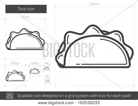 Taco vector line icon isolated on white background. Taco line icon for infographic, website or app. Scalable icon designed on a grid system.