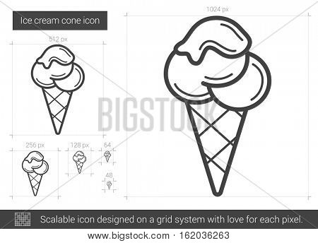 Ice cream cone vector line icon isolated on white background. Ice cream cone line icon for infographic, website or app. Scalable icon designed on a grid system.