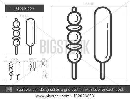 Kebab vector line icon isolated on white background. Kebab line icon for infographic, website or app. Scalable icon designed on a grid system.