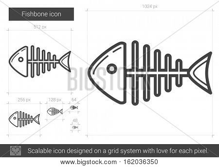 Fishbone vector line icon isolated on white background. Fishbone line icon for infographic, website or app. Scalable icon designed on a grid system.