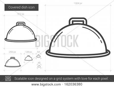 Covered dish vector line icon isolated on white background. Covered dish line icon for infographic, website or app. Scalable icon designed on a grid system.