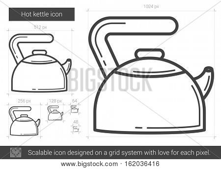 Hot kettle vector line icon isolated on white background. Hot kettle line icon for infographic, website or app. Scalable icon designed on a grid system.