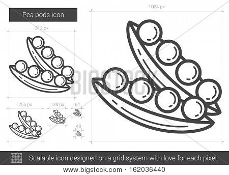 Pea pods vector line icon isolated on white background. Pea pods line icon for infographic, website or app. Scalable icon designed on a grid system.
