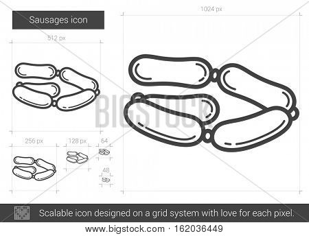 Sausages vector line icon isolated on white background. Sausages line icon for infographic, website or app. Scalable icon designed on a grid system.