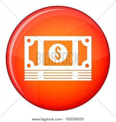 Stack of money icon in red circle isolated on white background vector illustration