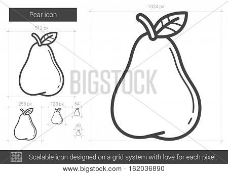 Pear vector line icon isolated on white background. Pear line icon for infographic, website or app. Scalable icon designed on a grid system.