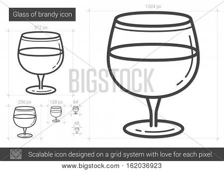 Glass of brandy vector line icon isolated on white background. Glass of brandy line icon for infographic, website or app. Scalable icon designed on a grid system.