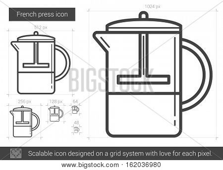 French press vector line icon isolated on white background. French press line icon for infographic, website or app. Scalable icon designed on a grid system.