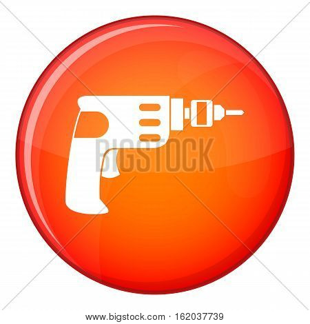 Hand drill icon in red circle isolated on white background vector illustration