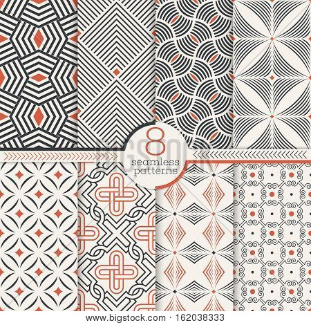 Set of art deco seamless patterns. Stylish modern geometric textures. Repeating geometrical shapes lines rhombuses scales arcs dots. Vector abstract backgrounds