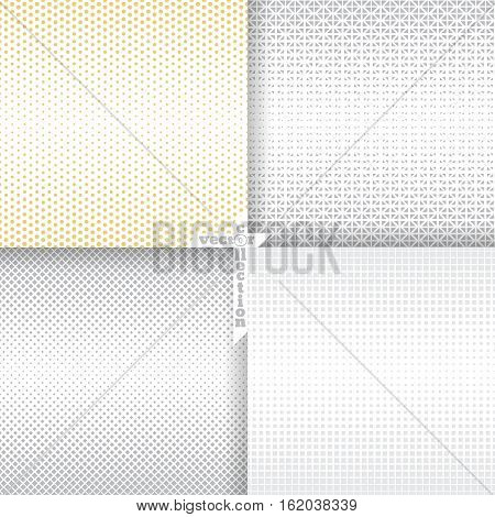 Set of vector seamless pattern. Abstract halftone backgrounds. Modern stylish textures. Repeating grids with geometric shapes of the different size. Gradation from bigger to smaller