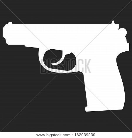 Pistol handgun silhouette security and military weapon. Metal pistol gun. Criminal and police firearm vector illustration.