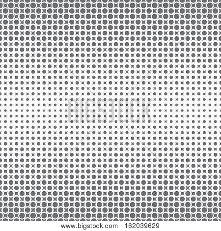 Seamless pattern. Abstract halftone background. Modern stylish texture. Repeating grid with dots and rhombuses of the different size. Gradation from bigger to the smaller. Vector element graphic design
