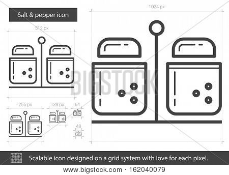 Salt and pepper vector line icon isolated on white background. Salt and pepper line icon for infographic, website or app. Scalable icon designed on a grid system.