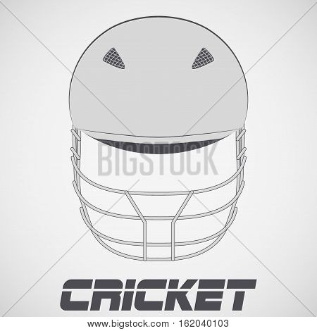 Cricket Helmet in sketch style. Front view. Sports Vector Illustration isolated on background.