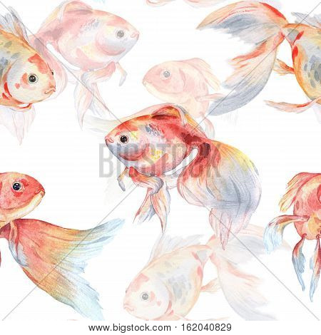 Seamless pattern with goldfish 2. Watercolor painting. Handmade drawing.